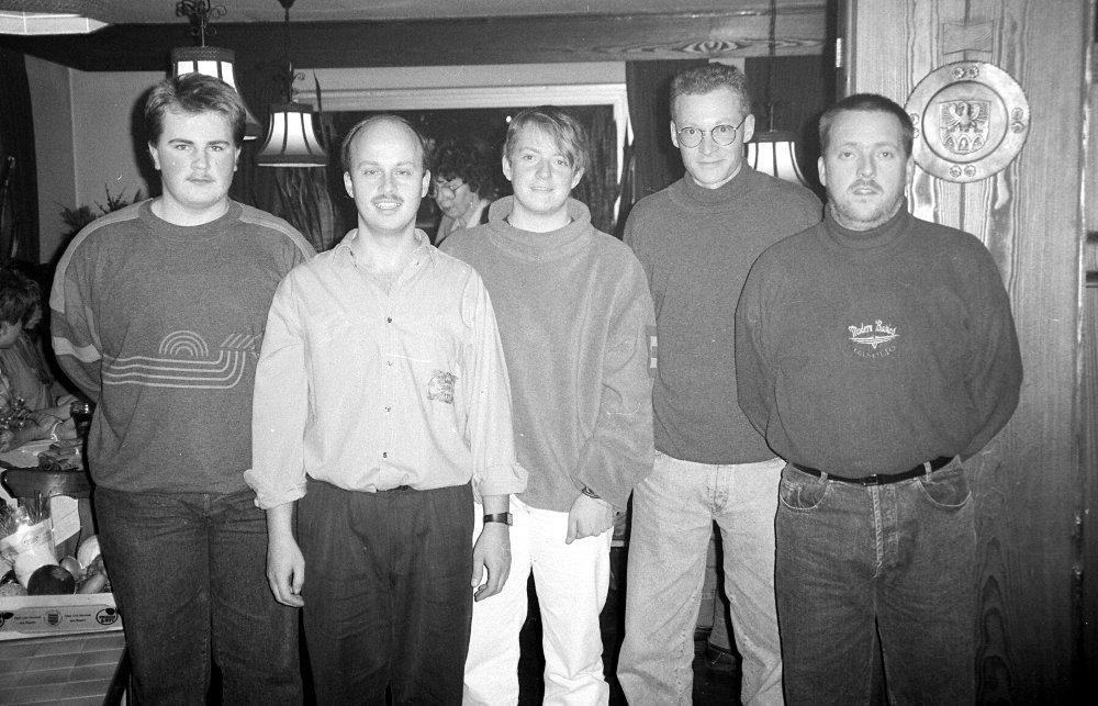 Die Vereinsmeister: Stefan Demharter, Walter Stenke, Mark Wager, Gerhard Gerold, Werner Stenke